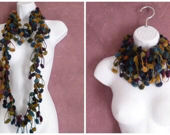 Scarf snood wool tassels blue, mustard, green, purple - autumn fantasy snood - special fantasy scarf