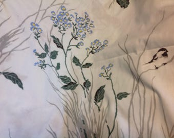Vintage Full Size Bed Sheet  by Pequot Green Gray Blue Flowers and Birds