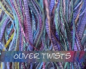 Hand Dyed Embroidery Thread Selection, One Off, No.57 Oil Slick, Mixed Embellishment Yarn, Cotton Thread, Viscose Thread, Canvaswork
