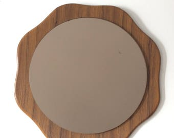 Lovely Teak Effect 60's/70's Daisy Shaped Wall Mirror. Tinted Glass.