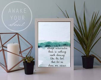 Family Name, Love qoute Art Print, Watercolor Mountains