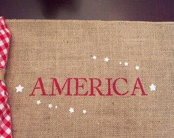 America Burlap Placemats / Burlap Patrotic Placemats / Americana Placemats / Burlap Placemat