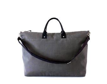 Canvas Weekender Bag, Canvas Duffle Bag, Large Canvas Tote Bag, Waxed Canvas Bag, Charcoal Grey Stripe