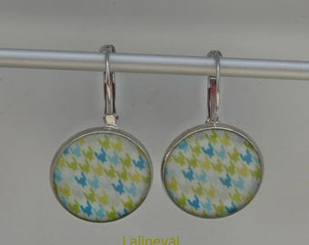 Earrings sleepers green and blue graphic pattern