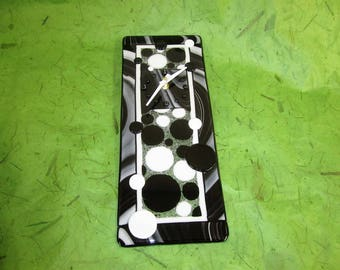 Black and White Circles Fused Glass Clock