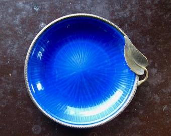 Evans Enamel Dish, Plate with Bronze Leaf Accent, Mid Century Vintage, Vivd Blue