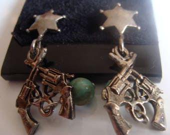 TWO Pr. (2 Pair) Cryptics tm  Brand #3635 Crossed Gun, Star, Bead EARRINGS by Polly Products