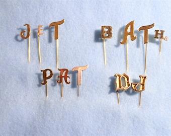 One Dozen Gold Tone Letter Stick Pin Lot