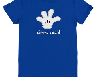 Disney Gimme Four Mickey Mouse Glove Gift Shirt Child Youth Fun Shirts High Five