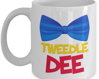Disney Tweedle Dee Gift Mug Disneyland Dum Coffee Cup Bow Tie Alice