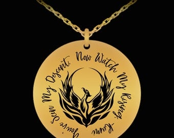 Rise Phoenix Rumi Quote Inspirational Laser Engraved Necklace Gift (Choice of Metal)