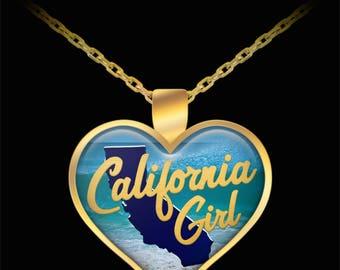 Cali California Girl Gift Necklace State Love Heart (Choice of Metal) Daughter Niece Wife Girlfriend Friend Beach Ocean Jewelry