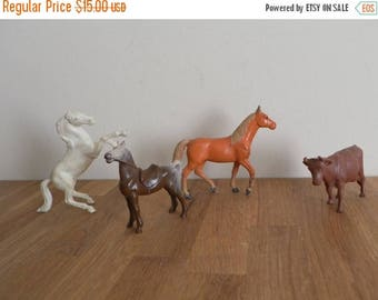 ON SALE Vintage Collection of Miniature Plastic Animals