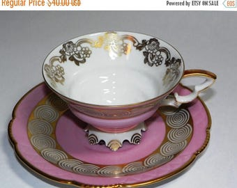 ON SALE Mitterteich Bavarian China - Teacup and Saucer