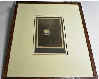 ON SALE Victorian Era - Boy on Tricycle - Oak Framed Cabinet Card