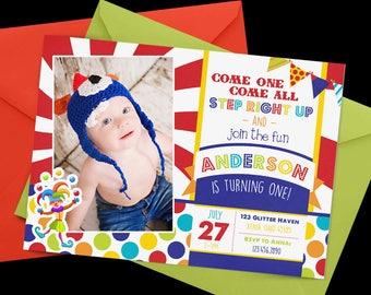 Carnival Birthday Invitation, First Birthday Invitation, Circus Birthday, 1st Birthday Invitation, Rainbow birthday, circus first birthday