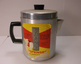 1950's Vintage Range Top Aluminum Grease Pot Can Jar Canister .epsteam