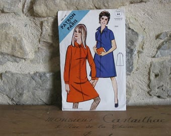 1960s sewing pattern for dress with zipper front - vintage French Patron de Paris 2721 size 44