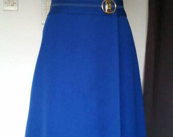 ON SALE Vintage wrap 1960 60s blue skirt mod twiggy go go S M