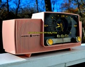 ROSE PINK Mid Century Jetsons 1959 General Electric Model 915 Tube AM Clock Radio Totally Restored!