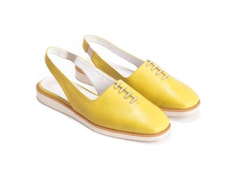 Yellow Flats, Sling Back Shoes, Summer Shoes, Womens Shoes, Slingbacks, Flats, Handmade Shoes Casual Shoes, Leather Shoes, Free Shipping