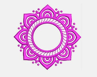 Crochet Lace Circle Monogram Frame Monogram Font Frame Machine Embroidery Designs Instant Download 578F