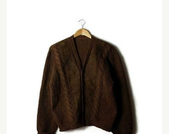 Clearance SALE 40% off Vintage Brown x Suede Patch/trim  Wool Cardigan Sweater from 70's*
