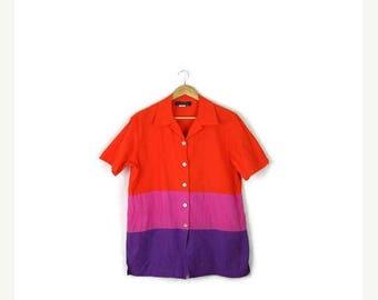 ON SALE Vintage Oversized Orange/Pink/Purple Tricolor Stripe Short sleeve Blouse from 80's*