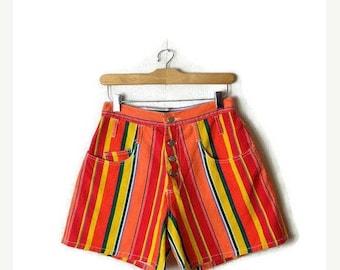 ON SALE Vintage Colorful/ Orange Stripe High Waist Denim Shorts from 1980's*