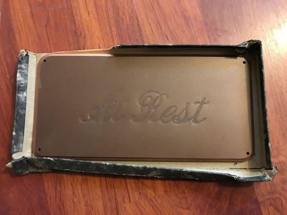 Vintage At Rest Funeral Plaque