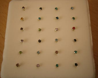 AUTHENTIC GENUINE .925 Sterling silver Nose Ring stud piercings in Various colors earrings glass crystal studded Greek