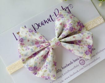 Dainty Purple Floral Bow - Sevenberry Fabric Bow