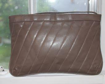 Vintage 1980's Soft Khaki Brown Clutch / Wristlet