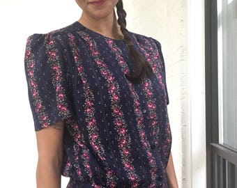 1980s Floral Button-Up Top