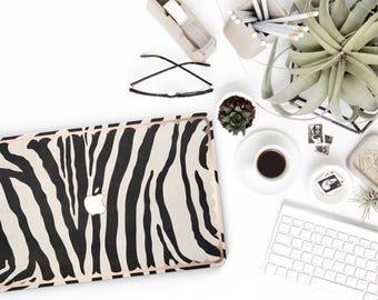 Wild Zebra and Scallop Rose Gold Edge Hybrid Hard Case for Apple Mac Air & Mac Retina , New Macbook 2016 - Platinum Edition