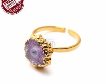 45% OFF Solar Rustic Druzy Ring, 22k Gold Electroplated Gemstone Druzy Adjustable Ring 1pc (DZRG-12061)