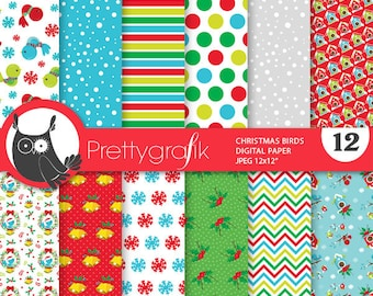 80% 0FF SALE Christmas birds  digital paper, commercial use, scrapbook papers, background chevron,  - PS892