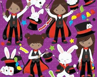 80% OFF SALE Magician girl clipart commercial use,magic clipart, magic show vector graphics, digital clip art, digital images - CL704