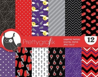 80% OFF SALE Halloween digital papers, vampire, scrapbook papers commercial use, witch scrapbook papers, background  - PS818