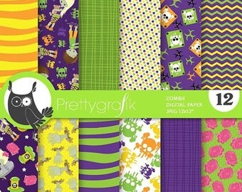 80% OFF SALE Halloween zombie digital papers, commercial use, scrapbook papers, background  - PS754