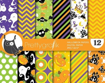 80% OFF SALE Halloween digital papers, commercial use, scrapbook papers, background  - PS655