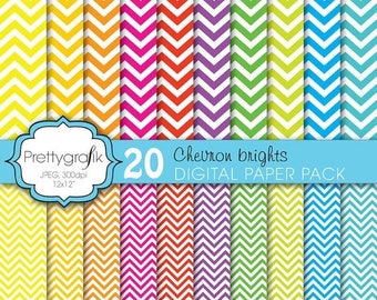 80% OFF SALE 20 chevron brights digital paper, commercial use, scrapbook papers, background - PS609