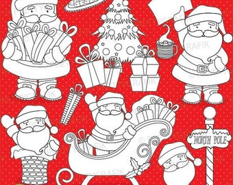 80% OFF SALE Santa claus digital stamp commercial use, vector graphics, digital stamp, christmas - DS607