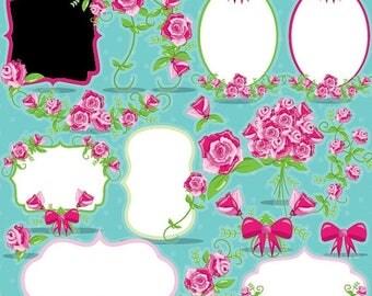 80% OFF SALE Floral Frames clipart wedding labels commercial use, roses frames vector graphics,  digital clip art, flower images  - CL954