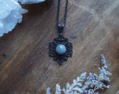 Labradorite Brass Necklace, Labradorite Necklace, Labradorite Choker, Victorian Jewelry, Gothic Jewelry, Witchy