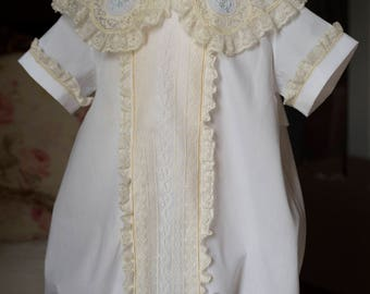 Bubble with Lace Paneled Front and Shaped Lace Collar