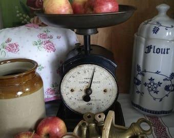 Antique Kitchen Scales , Hughes Scales, Cast Iron Kitchen Scales , Vintage Kitchen Scales