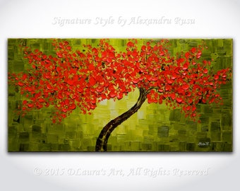 Modern Tree Painting ORIGINAL Large Abstract Red Cherry Blossom Tree Palette Knife Thick Texture Contemporary Oil Art 40x20 Made2Order