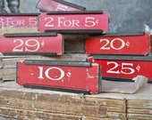 Vintage Metal Price Tag Holder RED Mercantile Shelf Clip Numbers Industrial Sign Farmhouse Decor Fixer Upper Style