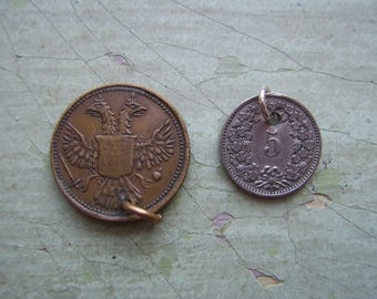 Antique/Vintage Holed Coin & Token/Gaming Token - Queen Victoria 1800's + Swiss 5 Rappen Coin 1902 - Destash/Upcycling.